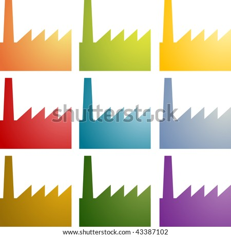 Icon Set Factory Industry Illustration Clipart Stock Vector ...