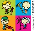 Icon set of doodle happy children with garden tools - stock vector