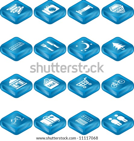 Icon set relating to city or location information for tourist web sites or maps etc.