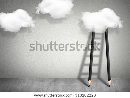 idea creative concept, pencil Ladder to clouds
