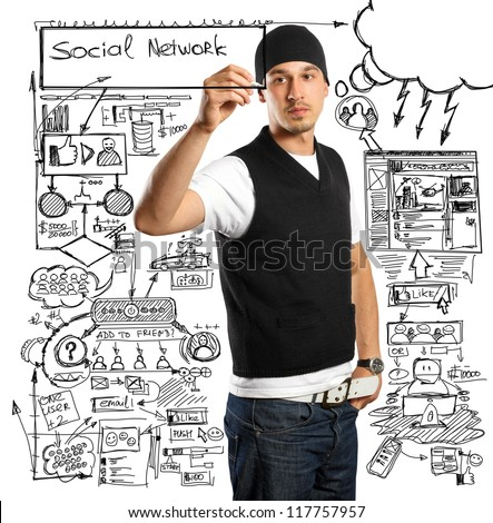 Idea social network concept, business man writing something on glass board with marker
