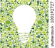 Ideas about eco friendly actions. Green icons in light bulb symbol shape background. - stock photo