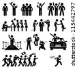 Idol Celebrity VIP VVIP Politician Singer Actor Movie Star Fans Stick Figure Pictogram Icon - stock vector