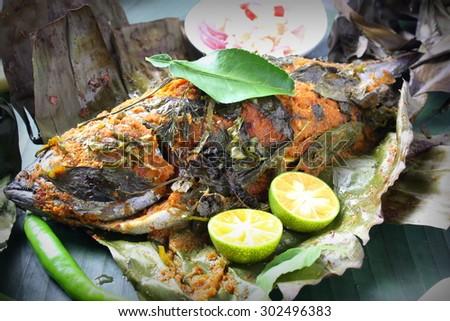 Ikan Bakar Malaysian Famous Street Food Stock Photo