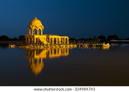 Illuminated building at Gadsisar Lake, Jaisalmer, Rajastan, India