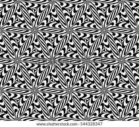 illusion art. seamless floral pattern. raster copy illustration. black, white color. for invitation, wallpaper