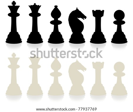 Illustrated chess set with slight reflection