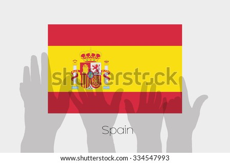 Illustrated Ghost Hands with the Flag of Spain