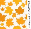 Illustration autumnal maple leaves, seamless background - raster - stock photo