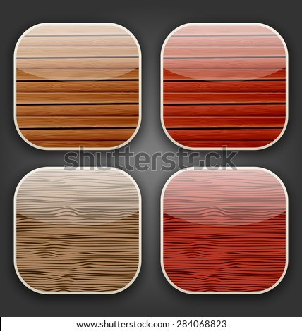 Illustration backgrounds with wooden texture for the app icons - raster