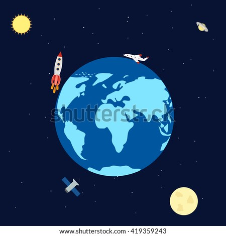 Earth Space Moon Rockets Satellite Stars Stock Vector ...