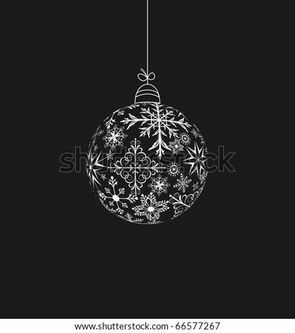 Illustration christmas ball made of snowflakes isolated on a black background - raster