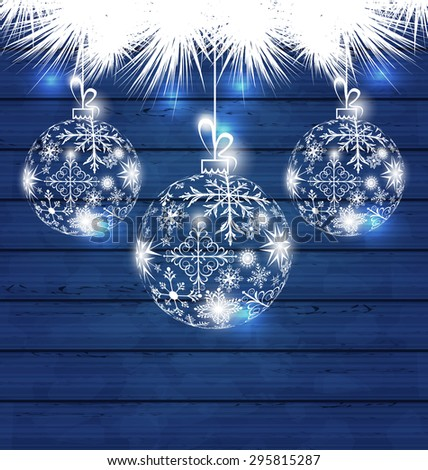 Illustration Christmas balls made in snowflakes on blue wooden background - raster