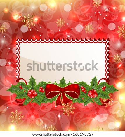 Illustration Christmas elegant card with mistletoe and bow - raster