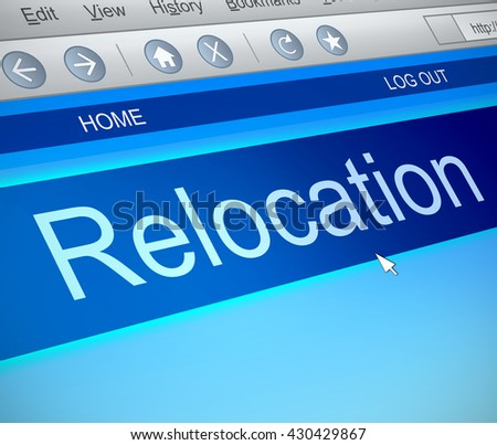 Illustration depicting a computer screen capture with a relocation concept.