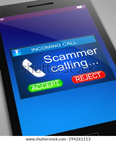 Illustration depicting a phone with a scam call concept.