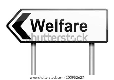 Illustration depicting a road traffic sign with a welfare concept. White background.