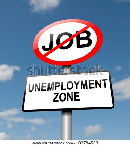 Illustration depicting a road traffic sign with an unemployment concept. Blue sky background.
