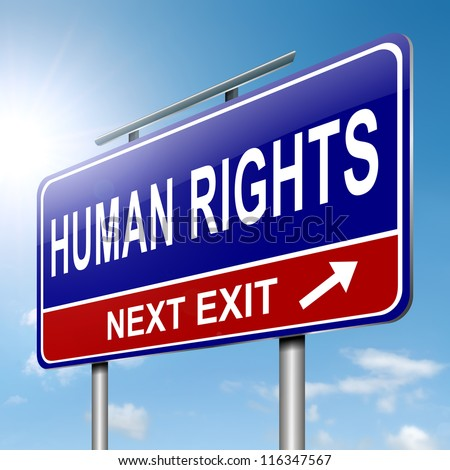Illustration depicting a roadsign with a human rights concept. Sky background.
