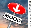 Illustration depicting a roadsign with a mood concept. Cloudy dark sky background. - stock photo