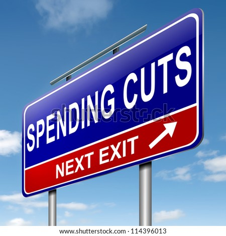 Illustration depicting a roadsign with a spending cuts concept. Sky  background.
