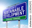Illustration depicting a roadsign with a sustainability concept. Sunlight and sky  background. - stock photo