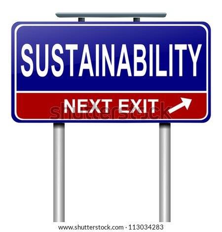 Illustration depicting a roadsign with a sustainability concept. White background.