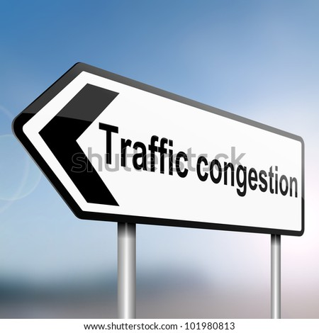 illustration depicting a sign post with directional arrow containing a traffic congestion concept. Blurred background.