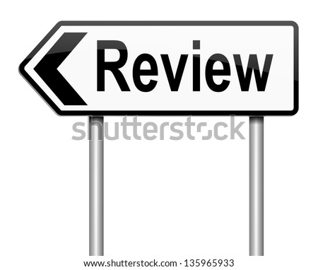 Illustration depicting a sign with a review concept.