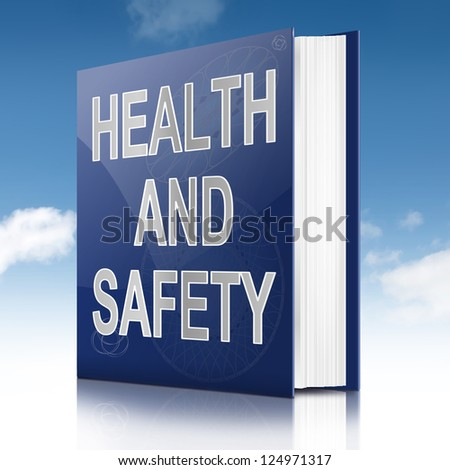 Illustration depicting a text book with a health and safety concept title. Sky background.