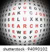 Illustration depicting an abstract wordsearch with centre focus revealing job concept words in red. - stock photo