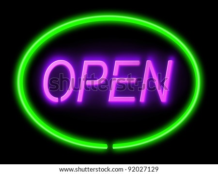 Illustration depicting an illuminated green and violet 'open' sign with black background,