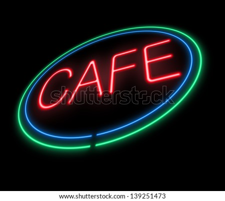 Illustration depicting an illuminated neon cafe sign.