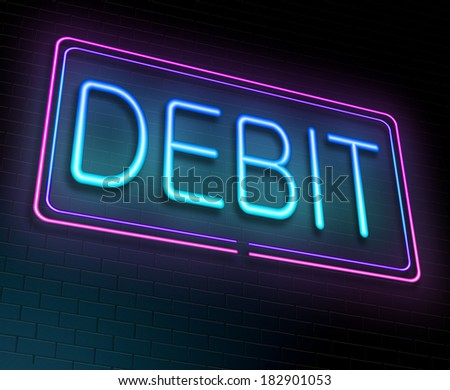 Illustration depicting an illuminated neon sign with a debit concept.