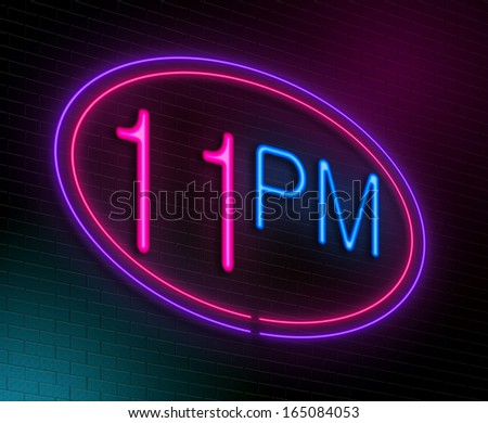 Illustration depicting an illuminated neon sign with a 11pm concept.