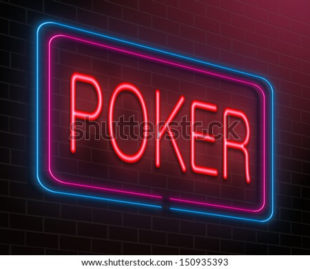 Illustration depicting an illuminated neon sign with a poker concept.