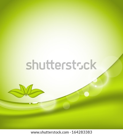 Illustration ecology background with green leaves - raster
