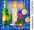 illustration festive background with candle ball and gift - stock photo