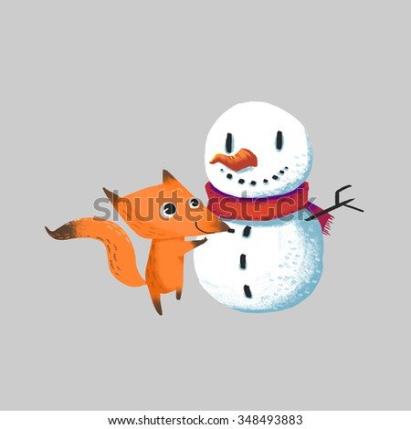 Illustration for Children: The Little Snow Man and Little Fox isolated. Realistic Fantastic Cartoon Style Artwork / Story / Scene / Wallpaper / Background / Card Design.