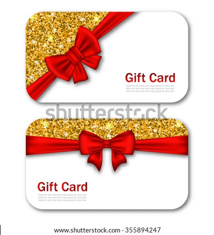 Illustration Gift Cards with Red Bow Ribbon and Golden Sparkles. Template for Greeting Cards, Invitations, Voucher Design - raster