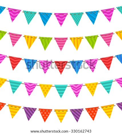 Illustration Group Hanging Bunting Party Flags, for Your Designs (Birthday Party, Wedding Celebration) - raster - raster