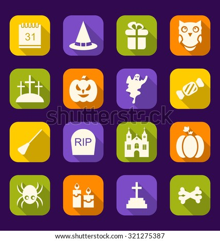 Illustration Halloween Flat Icons with Long Shadows - raster