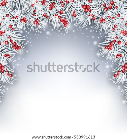 Illustration Holiday Background with Silver Fir Twigs and Holly Berries, Copy Space for Your Text -