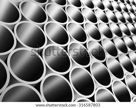 Illustration in 3D - Metal pipes in perspective closeup