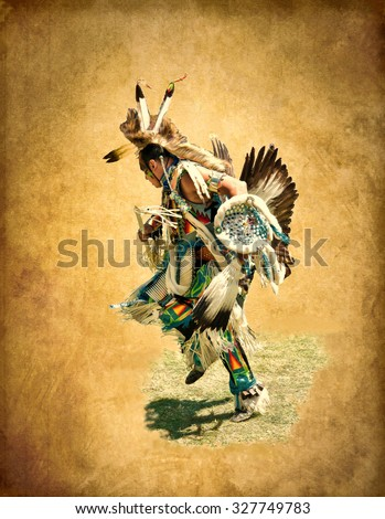 Illustration in grunge style. Native American in colorful dress decorated with feathers of an eagle and fur animals, performs dance of war