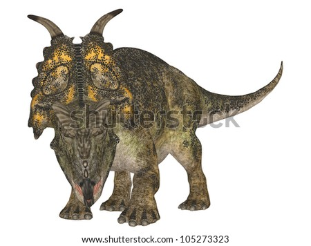 Illustration of a Achelousaurus (dinosaur species) isolated on a white background