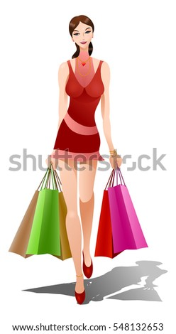 illustration of a beautiful woman carrying shopping bags in isolated white background