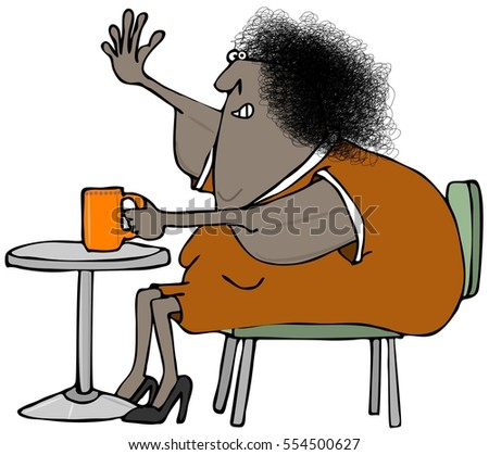 Illustration of a black woman with saggy arms sitting at a table drinking coffee.