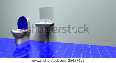 Illustration of a blue and gray bathroom with some blank space for additional design or text