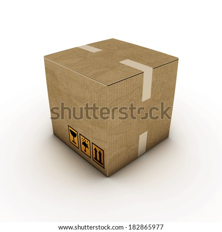 illustration of a cardboard box isolated on white background